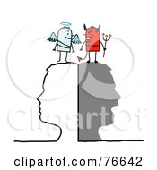 Royalty Free RF Clipart Illustration Of A Silhouetted Head With Stick People Angel And Devil On Top
