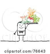 Royalty Free RF Clipart Illustration Of A Stick People Character Man Serving A Tray Of Colorful Fruits