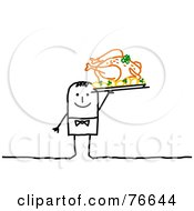 Royalty Free RF Clipart Illustration Of A Stick People Character Man Serving A Thanksgiving Feast
