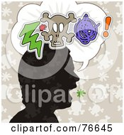 Royalty Free RF Clipart Illustration Of A Silhouetted Head With A Bolt Skull And Scribble In A Word Balloon by NL shop