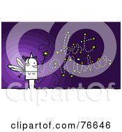 Stick People Character Fairy Godmother Creating Best Wishes With Her Wand