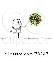 Royalty Free RF Clipart Illustration Of A Stick People Character Doctor Man Pointing To An H1N1 Virus