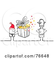 Royalty Free RF Clipart Illustration Of A Stick People Character Man Giving His Wife And Child A Christmas Present by NL shop