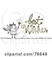 Stick People Character Fairy Godmother Writing Best Wishes With Her Wand
