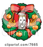 Red Book Mascot Cartoon Character In The Center Of A Christmas Wreath