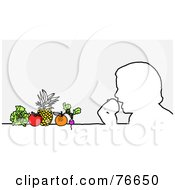 Royalty Free RF Clipart Illustration Of A Head Outline Of A Healthy Man Eating Fruits And Veggies by NL shop