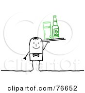 Royalty Free RF Clipart Illustration Of A Stick People Character Man Serving A Bottled Beverage And A Glass