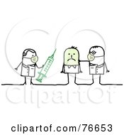 Royalty Free RF Clipart Illustration Of A Stick People Character Man Getting A Swine Flu H1N1 Vaccine
