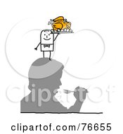 Royalty Free RF Clipart Illustration Of A Stick People Character Man Serving A Turkey On A Mans Head by NL shop