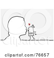 Royalty Free RF Clipart Illustration Of An Outlined Man Kissing A Stick People Character Woman