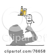 Royalty Free RF Clipart Illustration Of A Stick People Character Man Serving Beer On A Mans Hand