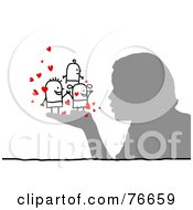 Royalty Free RF Clipart Illustration Of A Silhouetted Person Blowing Kisses At Stick People