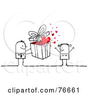 Royalty Free RF Clipart Illustration Of A Stick People Character Man Giving A Present To His Wife by NL shop