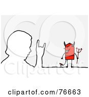 Royalty Free RF Clipart Illustration Of A Stick People Devil Character By An Outlined Man by NL shop