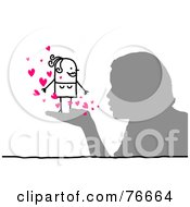 Silhouetted Boy Blowing Hearts At A Stick People Character Woman