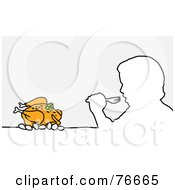 Royalty Free RF Clipart Illustration Of A Head Outline Of A Man Eating Turkey Or Chicken