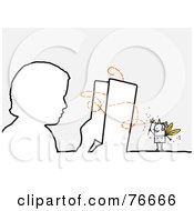 Royalty Free RF Clipart Illustration Of An Outlined Boy Reading A Story With A Stick People Character Fairy Godmother