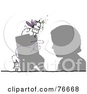 Royalty Free RF Clipart Illustration Of A Silhouetted Boy Reading A Story With A Stick People Character Devil And Fairy Godmother