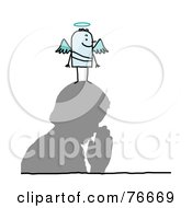 Royalty Free RF Clipart Illustration Of A Stick People Angel Character On A Mans Head