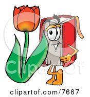 Clipart Picture Of A Red Book Mascot Cartoon Character With A Red Tulip Flower In The Spring