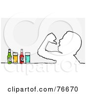 Royalty Free RF Clipart Illustration Of A Head Outline Of A Man Drinking Beverages by NL shop