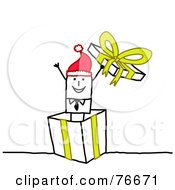 Royalty Free RF Clipart Illustration Of A Stick People Character Man Popping Out Of A Christmas Present by NL shop
