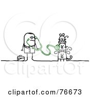 Royalty Free RF Clipart Illustration Of A Stick People Character Veterinarian Man Examining Pets