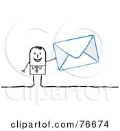 Royalty Free RF Clipart Illustration Of A Stick People Character Man Holding An Envelope
