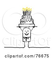 Royalty Free RF Clip Art Illustration Of A Stick People Character Man Holding A Birthday Cake Over His Head