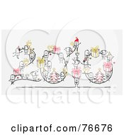 Royalty Free RF Clipart Illustration Of A Year 2010 With Stick People Characters On A Gray Background by NL shop