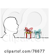 Royalty Free RF Clipart Illustration Of A Head Outline Of A Surprised Boy With Christmas Presents