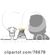Silhouetted Head Blowing Out Birthday Cake Candles By A Stick People Character Woman