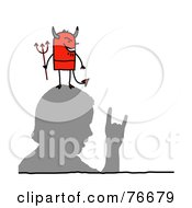 Royalty Free RF Clipart Illustration Of A Stick People Devil Character Man On A Mans Head by NL shop