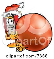 Clipart Picture Of A Red Book Mascot Cartoon Character Wearing A Santa Hat Standing With A Christmas Bauble