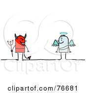 Royalty Free RF Clipart Illustration Of A Stick People Devil Facing An Angel by NL shop