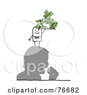 Royalty Free RF Clipart Illustration Of A Stick People Character Man Serving Fruit On A Mans Head