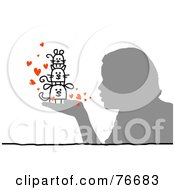 Royalty Free RF Clipart Illustration Of A Silhouetted Person Blowing Kisses To Their Pets In Hand by NL shop