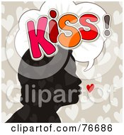 Royalty Free RF Clipart Illustration Of A Silhouetted Head With Hearts And The Word Kiss In A Word Balloon by NL shop