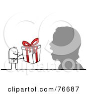 Royalty Free RF Clipart Illustration Of A Stick People Character Man Giving A Surprised Silhouette A Present by NL shop