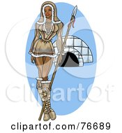 Royalty Free RF Clipart Illustration Of A Pinup Eskimo Woman Standing By An Igloo by r formidable