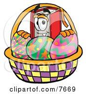 Clipart Picture Of A Red Book Mascot Cartoon Character In An Easter Basket Full Of Decorated Easter Eggs