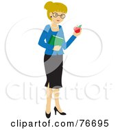 Royalty Free RF Clipart Illustration Of A Blond Caucasian School Teacher Woman Carrying An Apple And Book