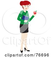 Royalty Free RF Clipart Illustration Of A Redhead Caucasian School Teacher Woman Carrying An Apple And Book by Rosie Piter