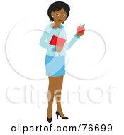 Black School Teacher Woman Carrying An Apple And Book