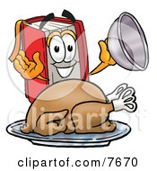 Red Book Mascot Cartoon Character Serving A Thanksgiving Turkey On A Platter by Toons4Biz