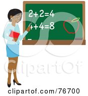 Royalty Free RF Clipart Illustration Of A Black Female School Teacher Pointing To A Chalk Board With Math And An Apple