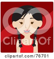 Royalty Free RF Clipart Illustration Of A Smiling Asian Girl Avatar With Braces by Rosie Piter