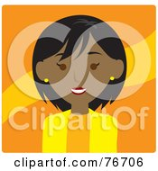 Royalty Free RF Clipart Illustration Of A Friendly Black Businesswoman Avatar Over Orange by Rosie Piter