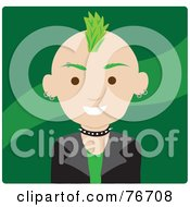 Royalty Free RF Clipart Illustration Of A Caucasian Punk Avatar Man With Green Hair