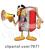 Red Book Mascot Cartoon Character Screaming Into A Megaphone by Toons4Biz